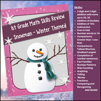 Math Review Skills for 1st Grade - Winter / Snowman Themed
