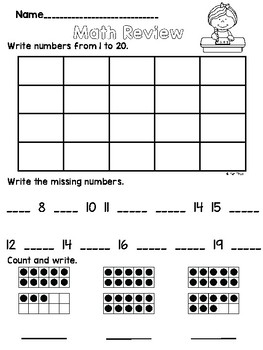 Math Review 0-20 and Adding