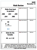Math Review - 6 Days Worth -