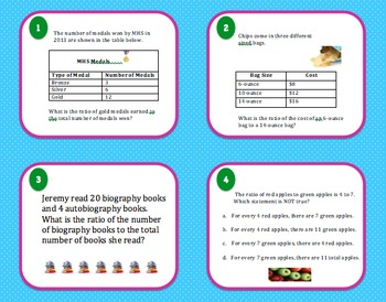 Math Review 6th Grade Task Cards