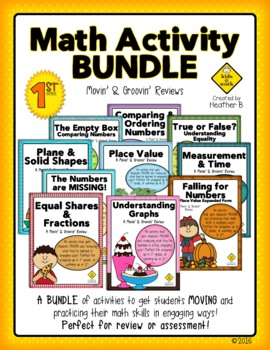 End of Level Test Prep Math Review GROWING Bundle for First and Second Grade