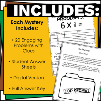 4th and 5th Grade Math Problem Solving and Fractions Activity Bundle