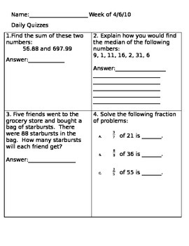 Math Review: Adding decimals, division, median, fraction of a whole