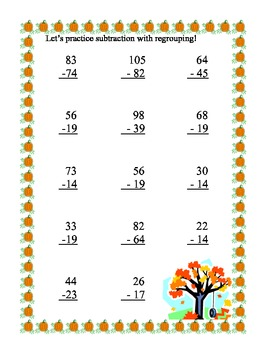 Math Review -Addition and Subtraction With and Without Regrouping-Fall Theme