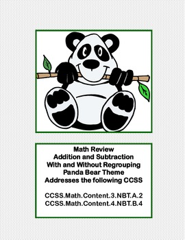 Math Review -Addition and Subtraction With and Without Regrouping Panda Theme