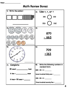 Math Review Boxes Set 1