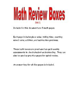 Math Review Boxes Set 1