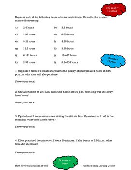 Math Review: Calculation of Time