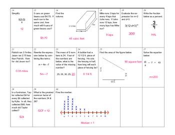 Math Review Calendar April 2013 Grade 6