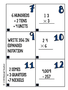 IB/PYP Math Review Cards {Math Centers- Fifth Grade}