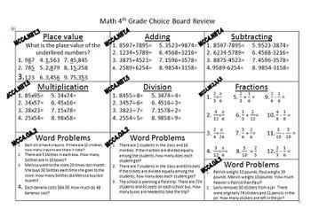 Math Review Choice Board 4th Grade Common Core