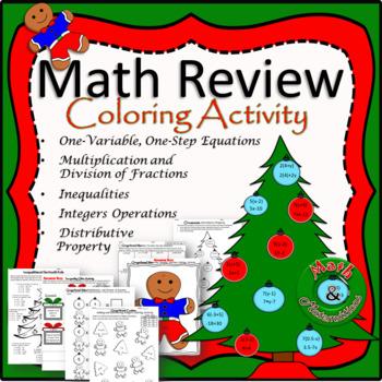Math Review-Christmas Coloring Activity TEKS 6.3D, 6.10A, 6.10B, 6.7D, 6.9A