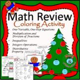 *Math Review-Christmas Coloring Activity TEKS 6.3D, 6.10A, 6.10B, 6.7D, 6.9A