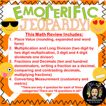 Math Review: Emoji Jeopardy Game!