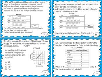 Data and Graphs Strand Review and Test Prep Task Cards