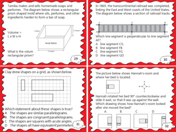 Geometry Review Test Prep Task Cards
