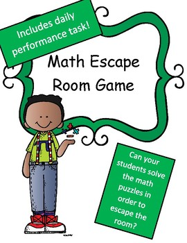 Math Review Game 4th Grade Escape Room Theme (With Performance Tasks)