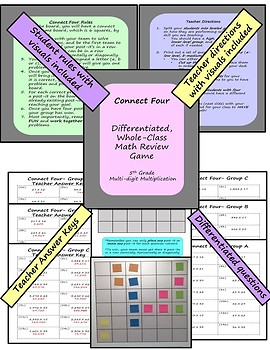 Math Review Game - Multi-Digit Multiplication (Differentiated)