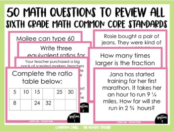 Math Review Game for 6th Grade Common Core {VERSION 2-Let's Make a Deal}