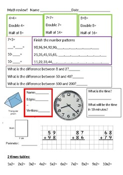 Math Review- Grade 3/4
