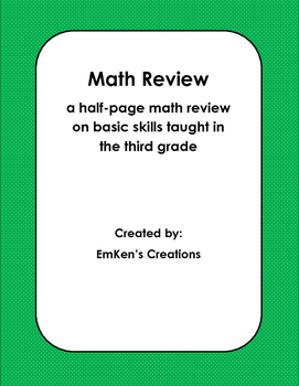 Math Review Half Page 3rd Grade