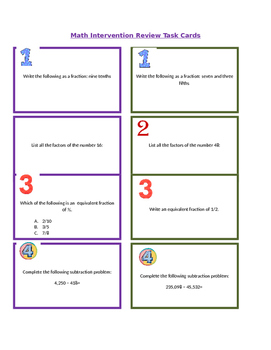 Math Review/Intervention Task Cards 4th-6th grade