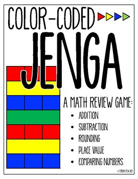 Math Review Jenga - Addition, Subtraction and Place Value Game