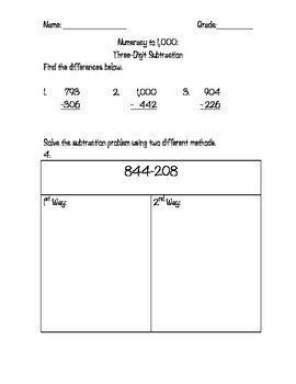 Math Review: Numeracy to 1,000 Addition & Subtraction