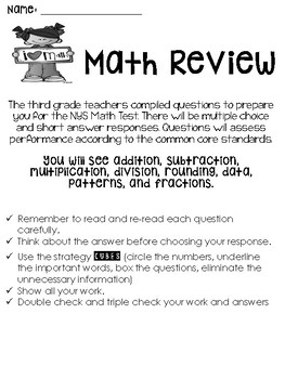 Math Review Packet (Covers Common Core from September-April)