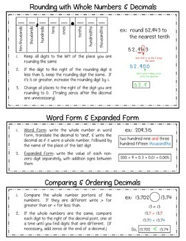 5th Grade Math Review Packet - Back to School Math Review for 6th Grade