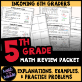 5th Grade Math Review Packet - Back to School Math Packet for 6th Grade