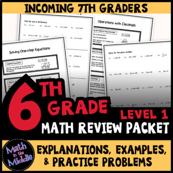 6th Grade Math Review Packet - Back to School Math Review for 7th Grade