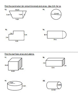 7th Grade Math Review Packet - Back to School Math Packet for 8th Grade