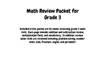 Math Review Packet for Grade 3