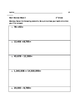 Math Review Packet week 1