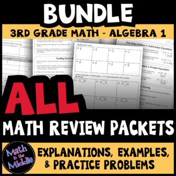 Math Review Packets BUNDLE (4th Grade through Algebra I)