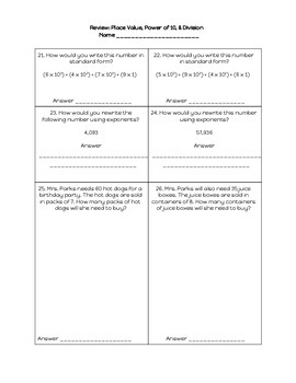 Math Review: Place Value, Power of 10, & Division