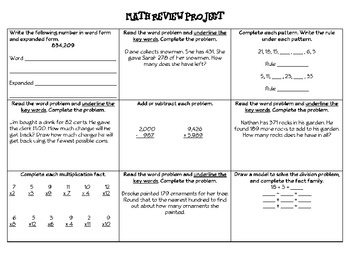 Math Review Project (Addition, Subtraction, Multiplication, Word Problems)