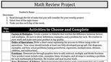 Math Review Project - Factors, Multiples, Area, Perimeter, Volume, Fractions