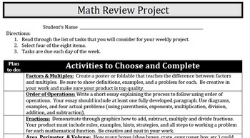 Math Review Project - Factors, Multiples, Area, Perimeter, Volume, Fractions