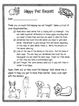 Math Review Project for Fourth Grade- A Night at a Pet Resort