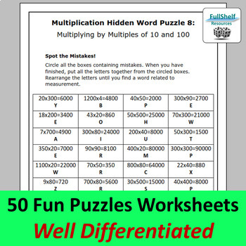 Math Review 4th 5th Grade Worksheets (Puzzles) BUNDLE