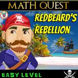 Pirate Math Quest Activity Printable & Digital - Redbeard's Rebellion (EASY)