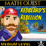 Pirate Math Quest Activity Printable & Digital - Redbeard's Rebellion (MEDIUM)