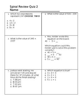 Math Review Quiz 2