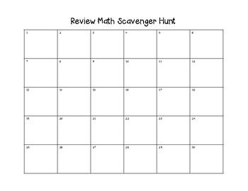 Math Review Scavenger Hunt