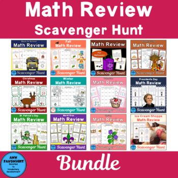 Math Review Scavenger Hunt Bundle