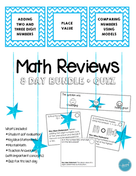 Math Review Set #1 (8 day bundle + Quiz)