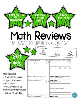 Math Review Set #3 (8 day bundle + Quiz)