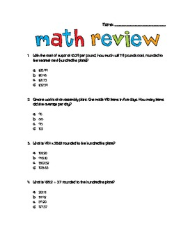 Math Review Sheet-Mean, Median, Mode, Range, Decimals